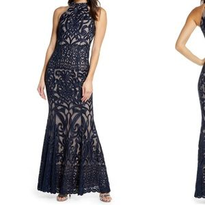 NEW Foxiedox embroidered large navy halter dress